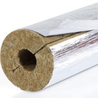 Steinbacher Steinwolle-Isolierschale mit Oberflächenbeschichtung aus gitternetzverstärkter Aluminiumfolie und selbstklebender Überlappung, einseitig geschlitzt. Die Steinwolle Isolierschale wird als Wärmedämmung / Wärmeisolierung von Rohrleitungen bzw. Heizungsleitungen verwendet.